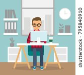 office work and remote work ... | Shutterstock .eps vector #795840910