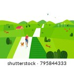 green valley landscape. comic... | Shutterstock .eps vector #795844333