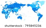 world map blue detailed   asia... | Shutterstock .eps vector #795845236