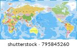 world map outline contour... | Shutterstock .eps vector #795845260