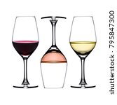 3 Glasses Wine Reverses Red - Fine Art prints