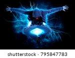 young man break dancing on... | Shutterstock . vector #795847783