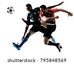 two soccer players men in... | Shutterstock . vector #795848569