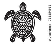 Stock vector sketchy tribal drawing of a sea turtle black and white vector illustration 795854953