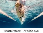 underwater picture of young... | Shutterstock . vector #795855568
