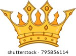 golden king crown. hand drawn... | Shutterstock .eps vector #795856114