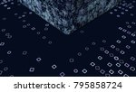 abstract displacement cube and... | Shutterstock . vector #795858724