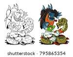 illustration fight of amazon... | Shutterstock .eps vector #795865354