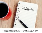 to do list text on notepad with ... | Shutterstock . vector #795866449