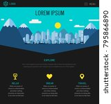 one page website design with... | Shutterstock .eps vector #795866890