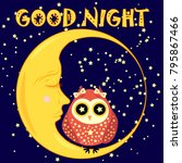 good night card with sleeping... | Shutterstock .eps vector #795867466