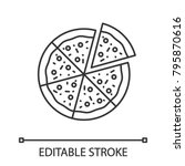pizza with one slice separated... | Shutterstock .eps vector #795870616