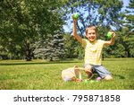 boy enjoys the result of the...   Shutterstock . vector #795871858