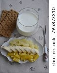 Small photo of Fruit Pineapple ,banana,apec. Yogurt in a glass