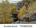 elbe sandstone mountains ... | Shutterstock . vector #795880306