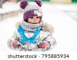 little girl in silver jacket...   Shutterstock . vector #795885934