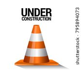 traffic cone on a white... | Shutterstock .eps vector #795894073