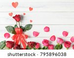 red and pink rose with paper... | Shutterstock . vector #795896038
