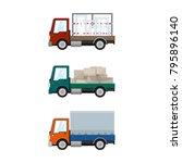 set of small cargo trucks  car... | Shutterstock .eps vector #795896140