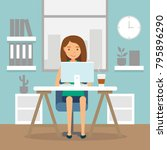 office work and remote work ... | Shutterstock .eps vector #795896290