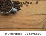 cup full of coffee beans for... | Shutterstock . vector #795896890