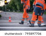 traffic line painting. workers... | Shutterstock . vector #795897706