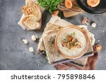 bowl with mushroom soup on old... | Shutterstock . vector #795898846