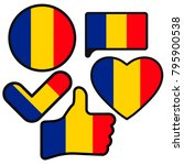 flag of romania in the shape of ... | Shutterstock . vector #795900538