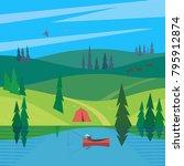 green valley landscape.... | Shutterstock .eps vector #795912874