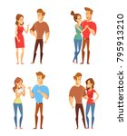 vector couple. man and woman.... | Shutterstock .eps vector #795913210