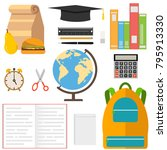 a set of school supplies. globe ... | Shutterstock .eps vector #795913330