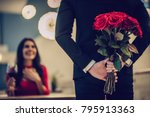 Stock photo beautiful loving couple is spending time together in modern restaurant attractive young woman in 795913363