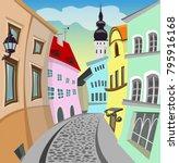 vector cartoon old town street | Shutterstock .eps vector #795916168