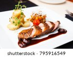 roasted duck with pear ... | Shutterstock . vector #795916549