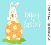 happy easter card template with ... | Shutterstock .eps vector #795921514