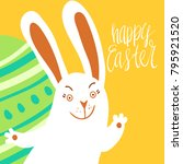 happy easter card template with ... | Shutterstock .eps vector #795921520