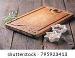 empty kitchen board and spices | Shutterstock . vector #795923413