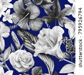 seamless floral pattern with... | Shutterstock .eps vector #795926794
