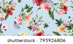 seamless floral pattern with... | Shutterstock .eps vector #795926806