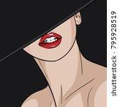 the girl in the hat....   Shutterstock .eps vector #795928519
