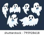 halloween ghost vector set   Shutterstock .eps vector #795928618