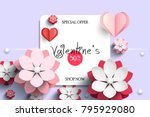 valentines day sale background... | Shutterstock .eps vector #795929080