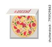 pizza in the open box. | Shutterstock .eps vector #795929863