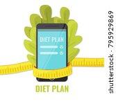lettuce with smartphone in... | Shutterstock .eps vector #795929869