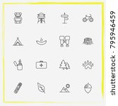 camping line icon set tree ... | Shutterstock .eps vector #795946459