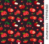 seamless pattern of red berries ... | Shutterstock .eps vector #795956560