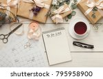 wedding to do list top view.... | Shutterstock . vector #795958900