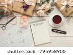 wedding to do list top view.... | Shutterstock . vector #795958900