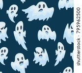 halloween ghost vector semless... | Shutterstock .eps vector #795962500