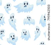 halloween ghost vector semless... | Shutterstock .eps vector #795962503